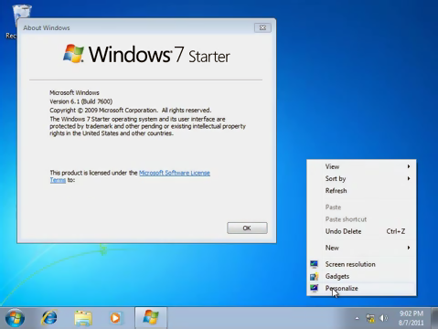 Aero Style si optiunea Personalize in Windows 7 Home Basic si Windows 7 Starter W7starter